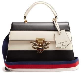 Gucci Queen Margaret Leather Shoulder Bag - Womens - Black White