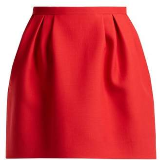 Valentino Pleated Wool And Silk Blend Skirt - Womens - Red