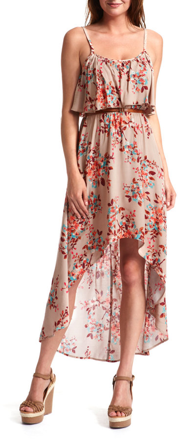 Charlotte Russe Floral Hi-Low Challis Dress