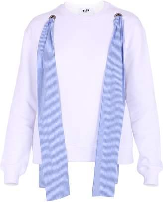 MSGM White Sweatshirt With Ribbons Details