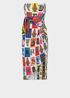 Versace Alphabet Print Strapless Mini Wrap Dress