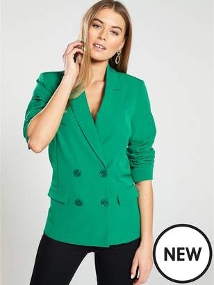 Warehouse Double Breasted Smart Blazer - Green
