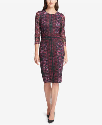Kensie Printed Lace Sheath Dress