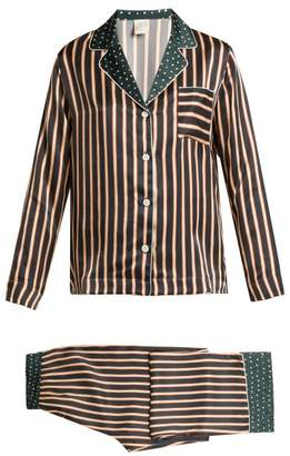 Morpho + Luna - Ines Printed Silk Pyjama Set - Womens - Green Print