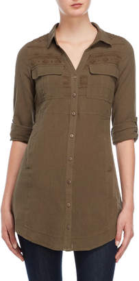 Miss Me Olive Green Embroidered Shirtdress