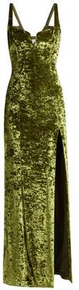 Galvan - Corset Hammered Velvet Gown - Womens - Green