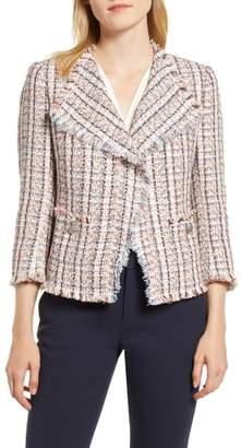 Anne Klein Cotton Blend Tweed Fringe Jacket