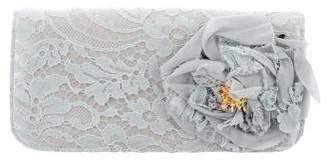 Dolce & Gabbana Lace-Overlay Satin Clutch