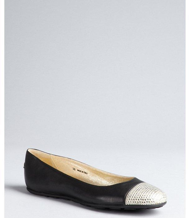 Jimmy Choo black and silver leather rhinestone cap toe 'Wrenna' ballet flats
