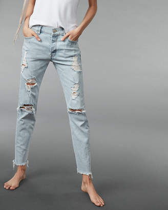 Express High Waisted Ripped Original Vintage Skinny Jeans