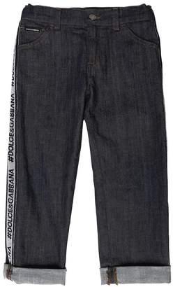 Dolce & Gabbana Stretch Denim Jeans With Logo Side Bands