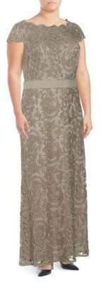 Tadashi Shoji Embroidered Lace Floor-Length Dress