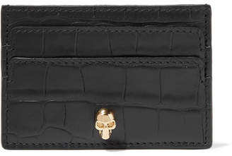 Alexander McQueen Croc-effect Leather Cardholder - Black