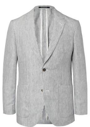 Richard James Indigo Spirit Pinstriped Linen Blazer