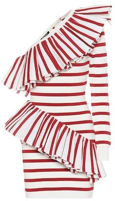 Balmain One-shoulder striped knit dress