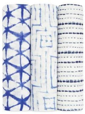 Aden Anais aden + anais Baby's Set of Three Indigo Shibori Swaddle
