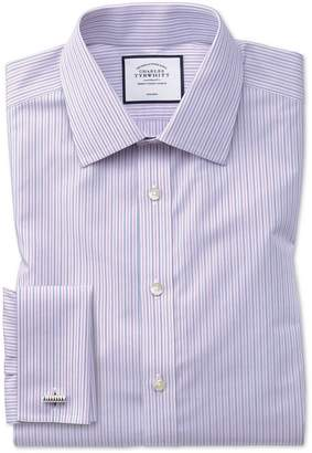 Charles Tyrwhitt Slim Fit Non-Iron Lilac and Blue Multi Stripe Cotton Dress Shirt French Cuff Size 15/33