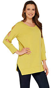 Halston H by Scoop Neck French Terry Tunic w/Sleeve Detail