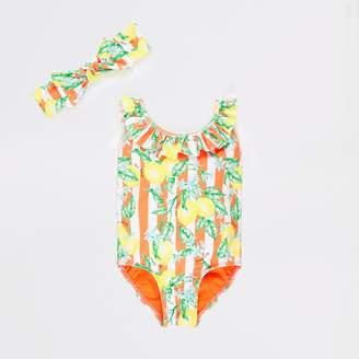 396897cbb3cb0 River Island Mini girls Orange lemon print swimsuit set