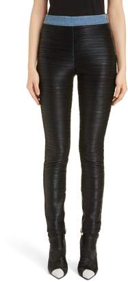 Balmain Denim Trim Plisse Jersey Leggings