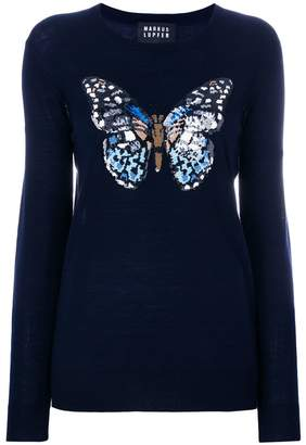 Markus Lupfer sequin butterfly sweater
