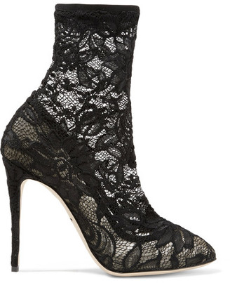 Dolce & Gabbana - Stretch-lace And Tulle Ankle Boots - Black $945 thestylecure.com