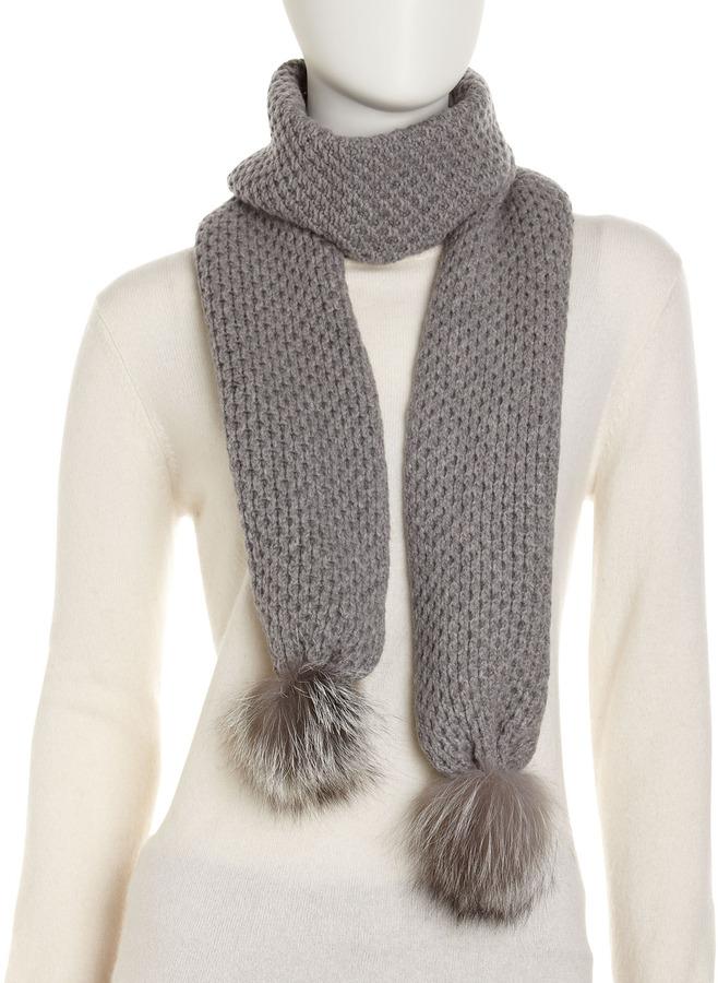 Neiman Marcus Fox Fur Pom-Pom Cashmere-Blend Scarf, Gray