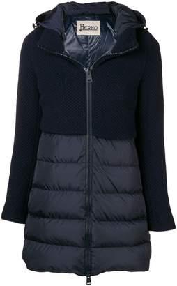 Herno knit panel padded coat