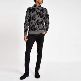 River Island Grey leopard print slim fit sweater