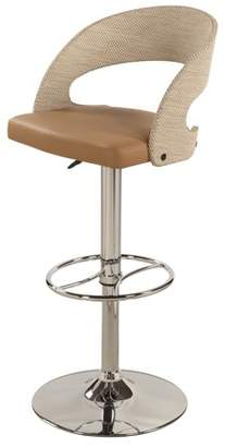 Bella Vita 1391 Curved Round Rattan Back Pneumatic Adjustable Stool in Taupe