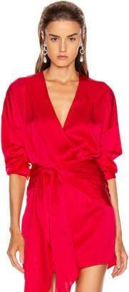Mason by Michelle Mason Oversized Blouse Bodysuit in Peony   FWRD