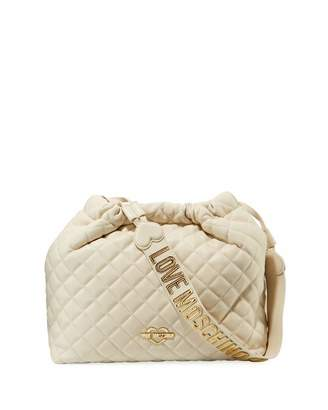 4593b122cf36 ... Love Moschino Quilted Drawstring Shoulder Bag