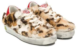 Golden Goose Kids fur sneakers