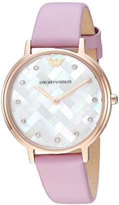 Emporio Armani Women's Quartz Stainless Steel and Leather Casual Watch