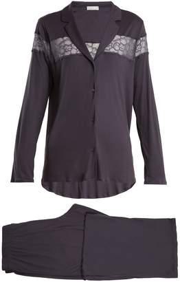 Hanro Lace-insert jersey pyjama set