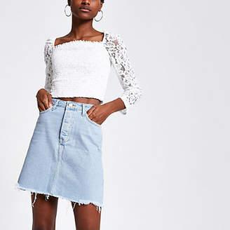 River Island Light blue denim mini skirt
