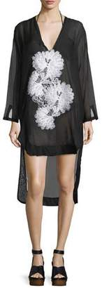 lila.eugenie Scoop-Neck Long-Sleeve Semisheer Shirtdress with Lace, One Size