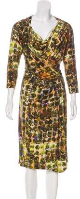 Alberta Ferretti Watercolor Knee-Length Dress