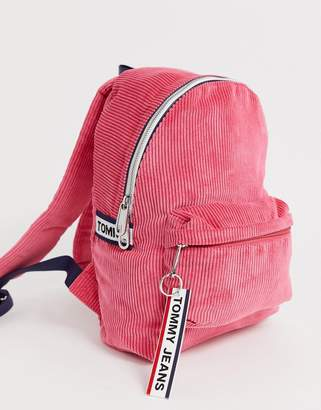 Tommy Jeans logo tape courduroy mini backpack