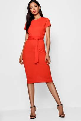boohoo Eva Pleat Front Belted Tailored Midi Dress