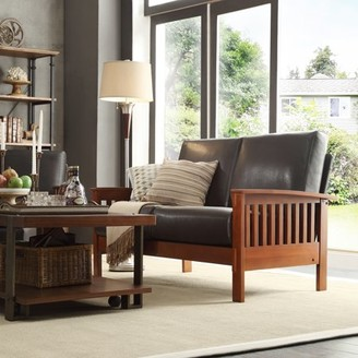 Weston Home Mission Oak Faux Leather Loveseat Couch, Dark Brown Seat Cushions