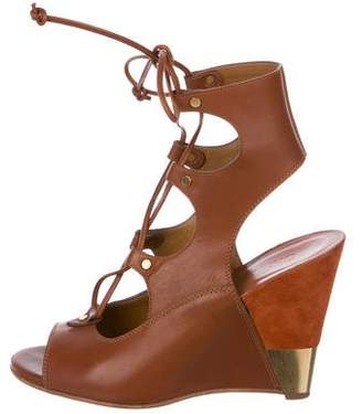 Chloé Leather Peep-Toe Wedge Sandals