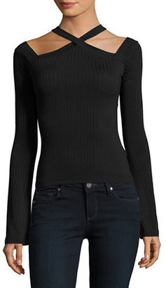Buffalo David Bitton Long Sleeved Choker Cropped Top $59 thestylecure.com