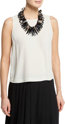 Eileen Fisher Sleeveless Short Silk Shell $178 thestylecure.com