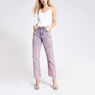 River Island Pink acid wash high rise denim straight jeans
