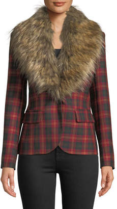 Redemption Detachable Faux-Fur Collar One-Button Tartan Wool Blazer