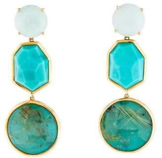 Ippolita 18K Rutilated Quartz Doublet, Turquoise & Chalcedony Drop Earrings