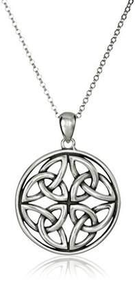 Celtic Sterling Triquetra Trinity Knot Medallion Pendant Necklace