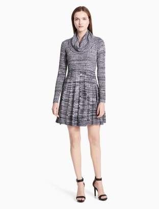 Calvin Klein marled cowl neck fit + flare sweater dress