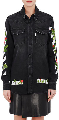 Off-White c/o Virgil Abloh Women's Embroidered Denim Oversized Shirt $815 thestylecure.com